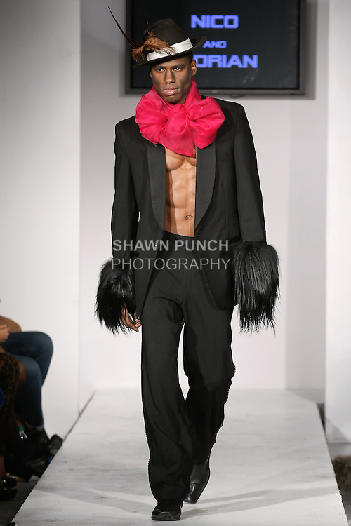 """Model walks runway in an outfit from the Adrian Alicea Fall Winter 2012 """"Strange Fruit"""" collection by Adrian Alicea, during BK Fashion Weekend Fall Winter 2012."""