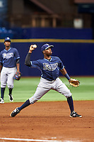Tampa Bay Rays Cristian Toribio (70) during an instructional league game against the Boston Red Sox on September 24, 2015 at Tropicana Field in St Petersburg, Florida.  (Mike Janes/Four Seam Images)