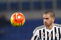Calcio, Serie A: Lazio vs Juventus. Roma, stadio Olimpico, 4 dicembre 2015.<br /> Juventus' Leonardo Bonucci eyes the ball during the Italian Serie A football match between Lazio and Juventus at Rome's Olympic stadium, 4 December 2015.<br /> UPDATE IMAGES PRESS/Riccardo De Luca