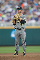 Vanderbilt Commodores starting pitcher Philip Pfeifer (22) looks to his catcher for the sign during the NCAA College baseball World Series against the TCU Horned Frogs on June 16, 2015 at TD Ameritrade Park in Omaha, Nebraska. Vanderbilt defeated TCU 1-0. (Andrew Woolley/Four Seam Images)