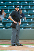 Home plate umpire Mike Patterson prior to the Carolina League game between the Wilmington Blue Rocks and the Winston-Salem Dash at BB&T Ballpark on August 3, 2013 in Winston-Salem, North Carolina.  The Blue Rocks defeated the Dash 4-2.  (Brian Westerholt/Four Seam Images)