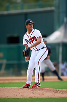 GCL Braves relief pitcher Walner Polanco (45) delivers a pitch during the first game of a doubleheader against the GCL Yankees West on July 30, 2018 at Champion Stadium in Kissimmee, Florida.  GCL Yankees West defeated GCL Braves 7-5.  (Mike Janes/Four Seam Images)