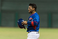 AZL Cubs 2 catcher Richard Nunez (2) during an Arizona League game against the AZL Indians 2 at Sloan Park on August 2, 2018 in Mesa, Arizona. The AZL Indians 2 defeated the AZL Cubs 2 by a score of 9-8. (Zachary Lucy/Four Seam Images)