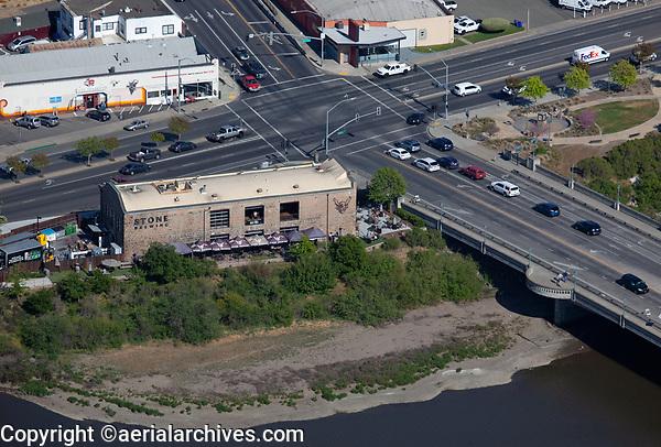 aerial photograph of Stone Brewing, Third Street Bridge, Napa, California