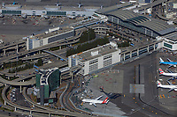aerial photograph of the international terminal and Grand Hyatt Hotel at San Francisco International airport (SFO), San Francisco, California