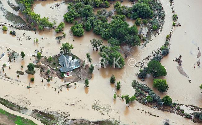 Flooding along Boulder Creek.  County Rd 16 1/2. Weld County, Colorado