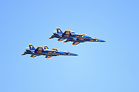 The Blue Angels fly over a Chicago Cubs game against the Milwaukee Brewers on August 14, 2014 at Wrigley Field in Chicago, Illinois.  Milwaukee defeated Chicago 6-2.  (Mike Janes/Four Seam Images)