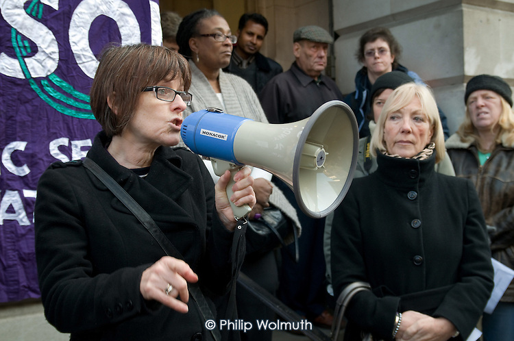 Phoebe Watkins, Camden Unison Adult Social Care Convener, addresses users of Age Concern Camden's three resource centres at a demonstration outside Camden Town Hall following  the council's decision to cut funding and close them down.