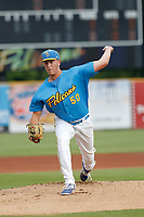 Myrtle Beach Pelicans pitcher Bryan Hudson (50) on the mound during a game against the Winston Salem Dash at Ticketreturn.com Field at Pelicans Ballpark on July 22, 2018 in Myrtle Beach, South Carolina. Winston-Salem defeated Myrtle Beach 7-2. (Robert Gurganus/Four Seam Images)
