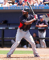 Atlanta Braves outfielder Jason Heyward #22 at bat during a spring training game against the New York Mets at Digital Domain Park on March 27, 2012 in Port St. Lucie, Florida.  Atlanta defeated New York 7-5.  (Mike Janes/Four Seam Images)