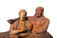 Close up of 6th century BC Etruscan Sarcophagus known as The Sarcophagus of the Spouses, the in sculpted in clay by the sculptors of Caere, 520-510 BC, Louvre Museum, Paris. White Background. To license for non editorial Advertising usage contact The Louvre Paris