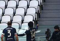 Calcio, Serie A: Juventus - Bologna, Turin, Allianz Stadium, January 24, 2021.<br /> Juventus' Weston Mckennie (r) celebrates after scoring with his captain Giorgio Chiellini (l) during the Italian Serie A football match between Juventus and Bologna at the Allianz stadium in Turin, January 24, 2021.<br /> UPDATE IMAGES PRESS/Isabella Bonotto