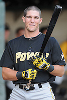 Infielder Andrew Maggi (33) of the West Virginia Power, Class A affiliate of the Pittsburgh Pirates, prior to a game against the Savannah Sand Gnats on July 21, 2011, at Grayson Stadium in Savannah, Georgia. (Tom Priddy/Four Seam Images)