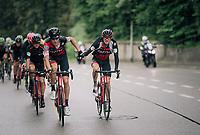 peloton-pilot Michael Schar (SUI/BMC) getting handed a bidon by Tejay van Garderen (USA/BMC)<br /> <br /> Stage 4: Gansingen > Gstaad (189km)<br /> 82nd Tour de Suisse 2018 (2.UWT)