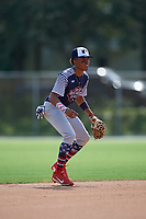 Nasim Nunez during the WWBA World Championship at the Roger Dean Complex on October 18, 2018 in Jupiter, Florida.  Nasim Nunez is a shortstop from Lawrenceville, Georgia who attends Collins Hill High School and is committed to Clemson.  (Mike Janes/Four Seam Images)