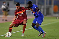 Lorenzo Pellegrini of AS Roma and Christian Kouame of ACF Fiorentina compete for the ball during the Serie A football match between AS Roma and ACF Fiorentina at stadio Olimpico in Roma (Italy), July 26th, 2020. Play resumes behind closed doors following the outbreak of the coronavirus disease. <br /> Photo Antonietta Baldassarre / Insidefoto