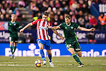Gabriel Fernandez Arenas 'Gabi' (l) of Atletico de Madrid competes for the ball with Darko Brasanac of Real Betis Balompie during their La Liga 2016-17 match between Atletico de Madrid vs Real Betis Balompie at the Vicente Calderon Stadium on 14 January 2017 in Madrid, Spain. Photo by Diego Gonzalez Souto / Power Sport Images
