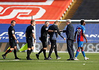 12th September 2020; Selhurst Park, London, England; English Premier League Football, Crystal Palace versus Southampton; Crystal Palace Manager Roy Hodgson fist bumps Referee John Moss