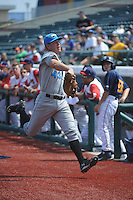 Hudson Valley Renegades infielder Casey Gillaspie (43) during game 2 of a double header against the Brooklyn Cyclones at MCU Park on July 8, 2014 in Brooklyn, NY.  Hudson Valley defeated Brooklyn 3-0.  (Tomasso DeRosa/Four Seam Images)