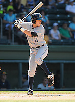 Infielder Dante Bichette, Jr. (19) of the Charleston RiverDogs, a New York Yankees affiliate, in a game against the Greenville Drive on June 3, 2012, at Fluor Field at the West End in Greenville, South Carolina. Charleston won, 5-3. Bichette is the Yankees' No. 6 prospect, according to Baseball America and was a first-round draft pick in 2011. (Tom Priddy/Four Seam Images)