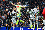 Jose Manuel Reina, Raul Albiol competes for the ball with Raphael Varane and Kleper Lima Ferreira Pepe  during the match of Champions League between Real Madrid and SSC Napoli  at Santiago Bernabeu Stadium in Madrid, Spain. February 15, 2017. (ALTERPHOTOS)