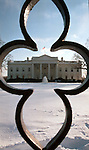 White house framed by fence in snow Washington DC, White House in snow, White House with snow, White house fence in snow Washington DC, Politics in the United States, Presidential, Federal Republic, united States Congress, Fine Art Photography by Ron Bennett, Fine Art, Fine Art photo, Art Photography,