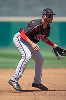 Lake Elsinore Storm Hudson Potts (15) on defense against the Rancho Cucamonga Quakes at LoanMart Field on May 28, 2018 in Rancho Cucamonga, California. The Storm defeated the Quakes 8-5.  (Donn Parris/Four Seam Images)