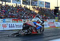 Sep 27, 2013; Madison, IL, USA; NHRA pro stock motorcycle rider Shawn Gann during qualifying for the Midwest Nationals at Gateway Motorsports Park. Mandatory Credit: Mark J. Rebilas-
