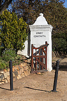 South Africa.  Old Entrance gate to  Groot Constantia, oldest wine estate in South Africa, founded 1685.