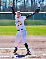 15 April 2009: University of Vermont Catamount pitcher Caitlin Monahan, a Sophomore from Clarks Summit, PA, in action against the University at Albany Great Danes at Archie Post Field in Burlington, Vermont. The Great Danes swept the Catamounts 2-0 and 12-0 in the afternoon double-header. Mandatory Photo Credit: Ed Wolfstein Photo