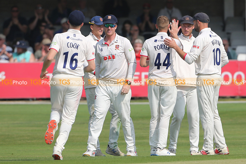 Jamie Porter of Essex celebrates with his team mates after taking the wicket of Ollie Price during Essex CCC vs Gloucestershire CCC, LV Insurance County Championship Division 2 Cricket at The Cloudfm County Ground on 5th September 2021