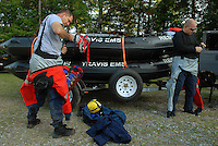 Swift water rescue training on Lake James, in Morganton, NC.