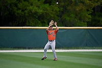 Baltimore Orioles Nick Horvath (35) catches a fly ball during a Minor League Spring Training game against the Tampa Bay Rays on March 16, 2019 at the Buck O'Neil Baseball Complex in Sarasota, Florida.  (Mike Janes/Four Seam Images)