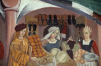 Europe/Italie/Val d'Aoste/ISSOGNE; Château d'issogne -  Détail des fresques du vestibule  et des  portiques représentant des scénes de la vie quotidienne: le marchand  de fruits et légumes
