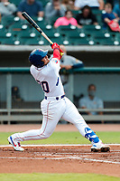 Tennessee Smokies catcher Miguel Amaya (30) at bat against the Montgomery Biscuits on May 8, 2021, at Smokies Stadium in Kodak, Tennessee. (Danny Parker/Four Seam Images)