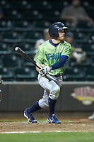 Conner Capel (1) of the Lynchburg Hillcats follows through on his swing against the Winston-Salem Dash at BB&T Ballpark on May 1, 2018 in Winston-Salem, North Carolina. The Dash defeated the Hillcats 9-0. (Brian Westerholt/Four Seam Images)