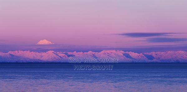Redoubt Volcano and Cook Inlet at Sunrise, Aleutian Range, Alaska, USA