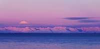 Redoubt Volcano and Cook Inlet at Sunrise, Aleutian Range, Alaska, USA