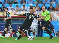 Sergio Aguero (Argentinien, Argentina) gegen Gylfi Sigurdsson (Island, Iceland) - 16.06.2018: Argentinien vs. Island, Spartak Stadium Moskau