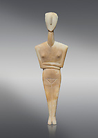 Ancient Greek Cycladic female figurine of the canonical type, Dokathismata variety, Early Cycladic period II, Syros phase, 2800-2300 BC, Museum of Cycladic Art, Athens. Grey Background. <br /> <br /> Attributed to the 'Ashmolean Museum Master'