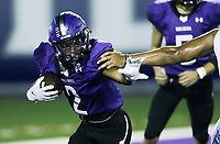 Fayetteville Kameron Ingram (2) carries the ball, Friday, October 9, 2020 during a football game at Fayetteville High School in Fayetteville. Check out nwaonline.com/2010010Daily/ for today's photo gallery. <br /> (NWA Democrat-Gazette/Charlie Kaijo)