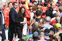Catherine, Duchess of Cambridge<br /> give out Medals at the finish line on The Mall at the 2017 London Marathon, London. <br /> <br /> <br /> ©Ash Knotek  D3254  23/04/2017