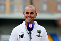4th September 2021; Merton, London, England;  EFL Championship football, AFC Wimbledon versus Oxford City: A delighted AFC Wimbledon Manager Mark Robinson answering questions from the written press after AFC Wimbledon beat Oxford United 3-1