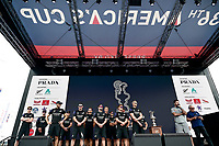 16th March 2021; Waitemata Harbour, Auckland, New Zealand;  Emirates Team New Zealand team at the pre-race show. 36th America's Cup Race Village, Auckland Viaduct, New Zealand