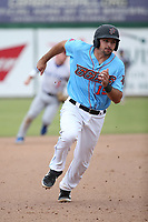 Ryan Scott (15) of the  Inland Empire 66ers runs the bases during a game against the Stockton Ports at San Manuel Stadium on May 26, 2019 in San Bernardino, California. (Larry Goren/Four Seam Images)