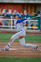 Romer Cuadrado (17) of the Ogden Raptors crushes a grand slam to left field against the Orem Owlz at Home of the Owlz on September 11, 2017 in Orem, Utah. Ogden defeated Orem 7-3 to win the South Division Championship. (Stephen Smith/Four Seam Images)