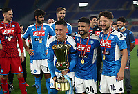Napoli's Jose Callejon, Dries Mertens and Lorenzo Insigne celebrate at the end of the Italian Cup football final match between Napoli and Juventus at Rome's Olympic stadium, with closed doors, June 17, 2020. Napoli won 4-2 at the end of a penalty shootout following a scoreless draw.<br /> UPDATE IMAGES PRESS/Isabella Bonotto