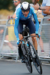 Enric Mas (ESP) Movistar Team in action during Stage 1 of La Vuelta d'Espana 2021, a 7.1km individual time trial around Burgos, Spain. 14th August 2021.    <br /> Picture: Luis Angel Gomez/Photogomezsport | Cyclefile<br /> <br /> All photos usage must carry mandatory copyright credit (© Cyclefile | Luis Angel Gomez/Photogomezsport)