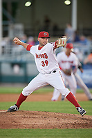 Harrisburg Senators relief pitcher Ryan Brinley (39) delivers a pitch during a game against the Bowie Baysox on May 16, 2017 at FNB Field in Harrisburg, Pennsylvania.  Bowie defeated Harrisburg 6-4.  (Mike Janes/Four Seam Images)