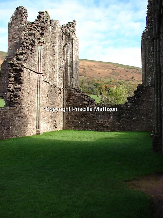 Llanthony, Wales - November 2, 2006:  Partial stone walls remain at Llanthony Priory.